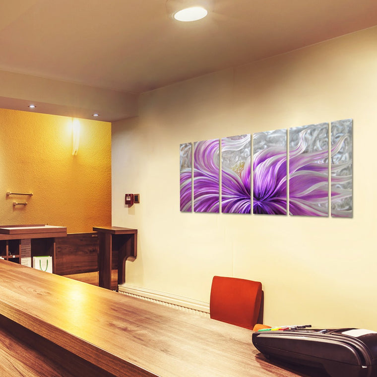 "Purple Blossoms Flower Metal Wall Art for Modern and Contemporary Decor, 6 Panels Measures 24""x 65"""