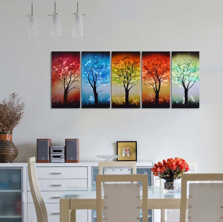 From Dusk til Dawn Multi-Colored Tree Metal Wall Art, Decorative hanging in 5-Panels Measures 24