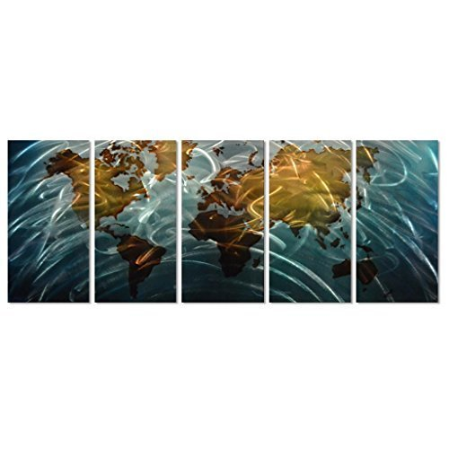 "Blue World Map Metal Wall Art, 5-Panel Abstract Contemporary Sculpture, 24""x 64"", Works in Indoor and Outdoor Settings"