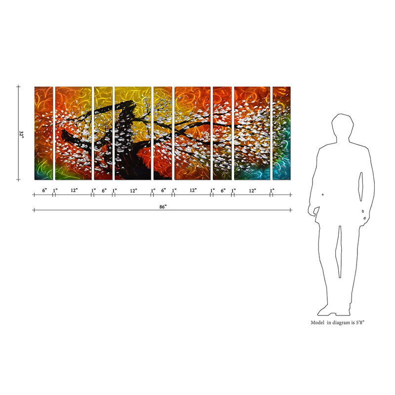 "Gigantic Tree of Life Metal Wall Art Decor, Oversize Colorful 3D Artwork for Modern, 9-Panels Measures 86""x 32"""