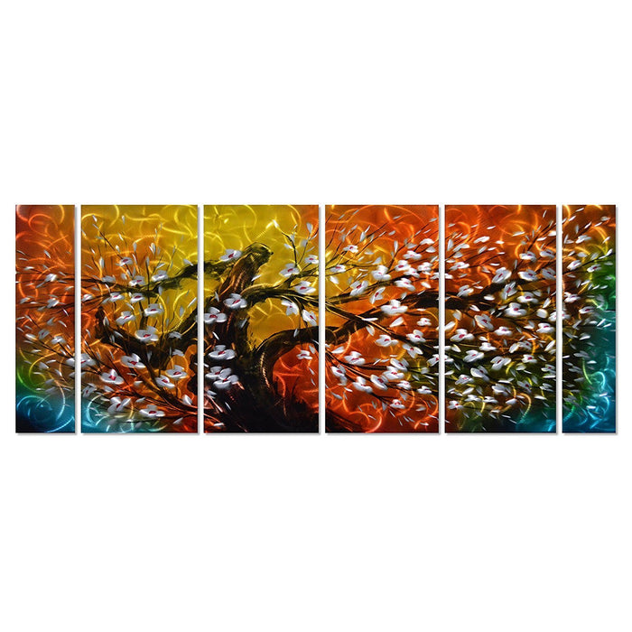 "Gigantic Tree of Life Metal Wall Art Decor, 6-Panels Measures 24""x 65"", Abstract Great for Indoor and Outdoor Rooms"