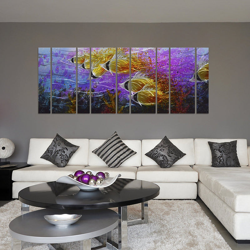 "Colorful Tropical School of Fish Metal Wall Art, Purple Oversize Metal Wall Decor in Tropical Ocean Design, 9-Panels 86""x 32"""