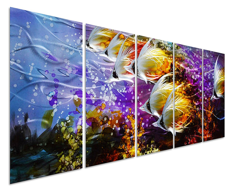 "Colorful Tropical School of Fish Metal Wall Art, 3D Artwork for Modern and Contemporary Décor, 5-Panels 24""x 64"""