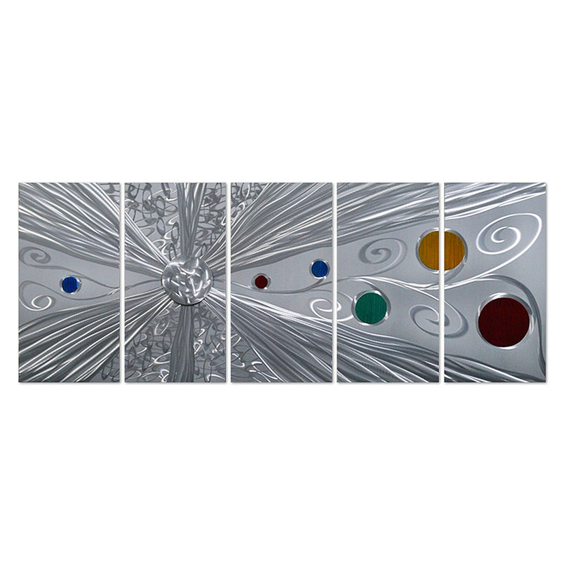 "Silver Solstice Metal Wall Art - Abstract Silver with Red, Yellow, Green and Blue Circles - Set of 5 Panels 64"" x 24"""