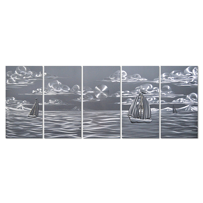 "Silver Nautical Sea Boats - Set of 5 Contemporary Panels Sculpture - 64"" x 24"""