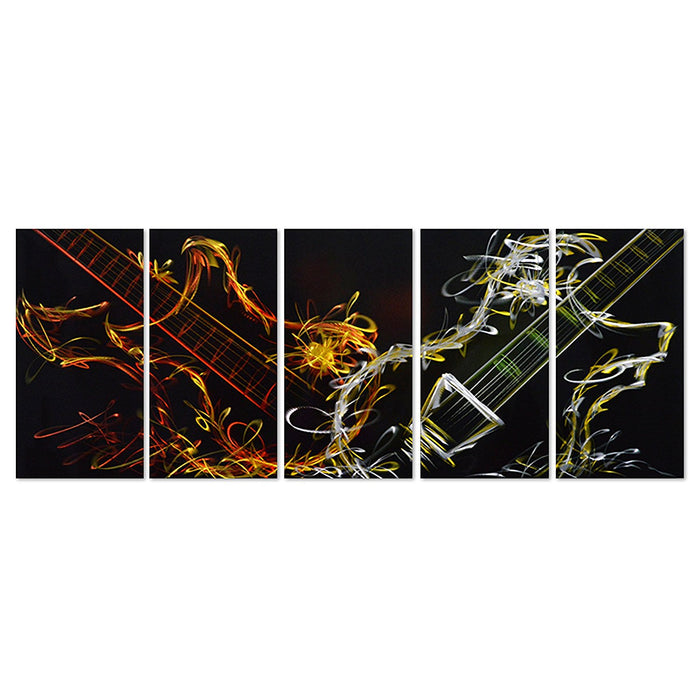 "Abstract Guitar Heat - Set of 5 Panels Sculpture for Kitchen or Living Room - 64"" x 24"""