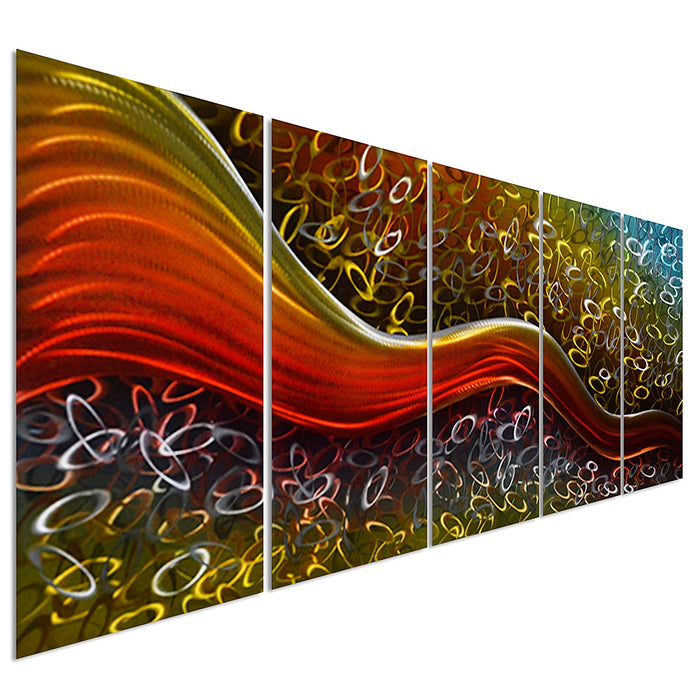 "Colorful Happiness Within Field - Large Abstract Metal Wall Art Decor - 64"" x 24"""