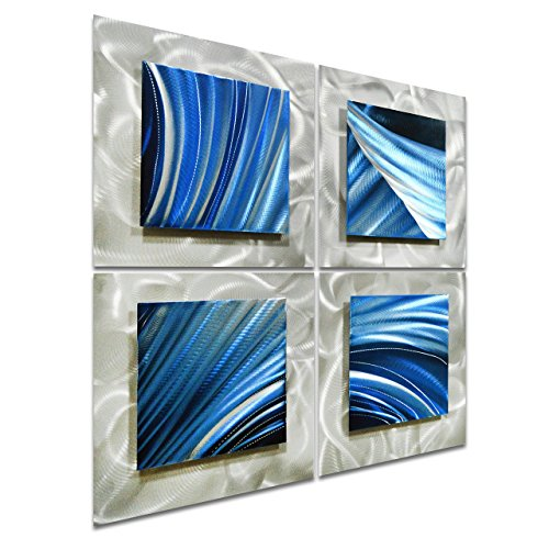 "Movement in Squares - Hanging Sculpture of 25"" x 25"" - Blue Silver Abstract Artwork of 4 Panels"