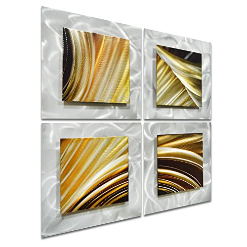 "Movement in Squares - Small Brown Modern Metal Wall Art Decor of 4 Panels - 25"" x 25"""
