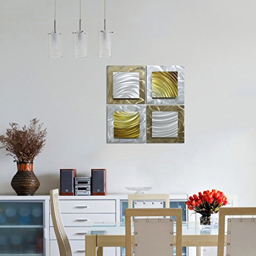 "Movement in Squares - Set of 4 Square Panels Silver and Gold Abstract Artwork - 25"" x 25"""