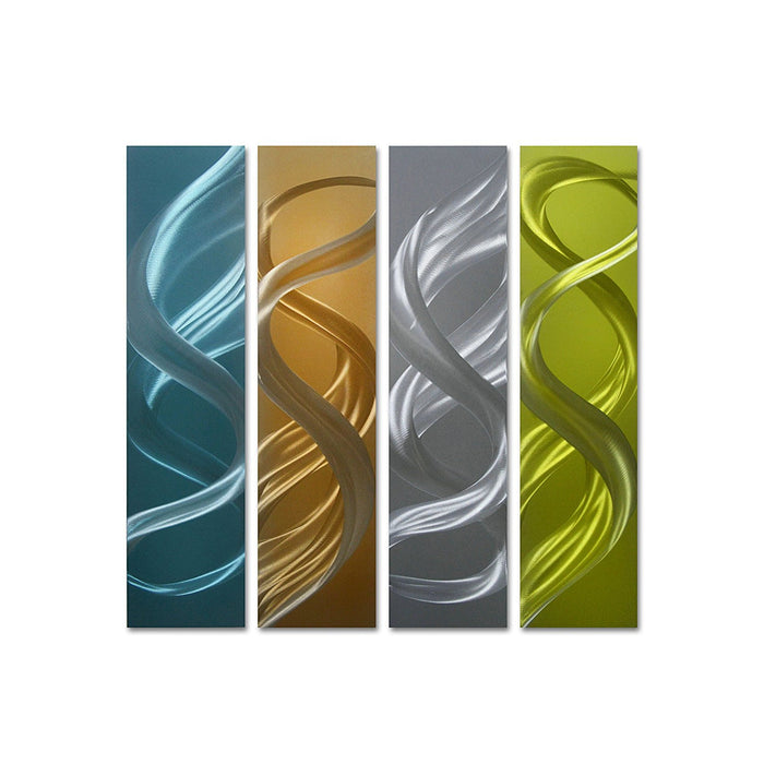 "Colorful Turns - Hanging Decoration Set of 4 Panels - 25"" x 24"" Perfect Artwork for Kitchen"