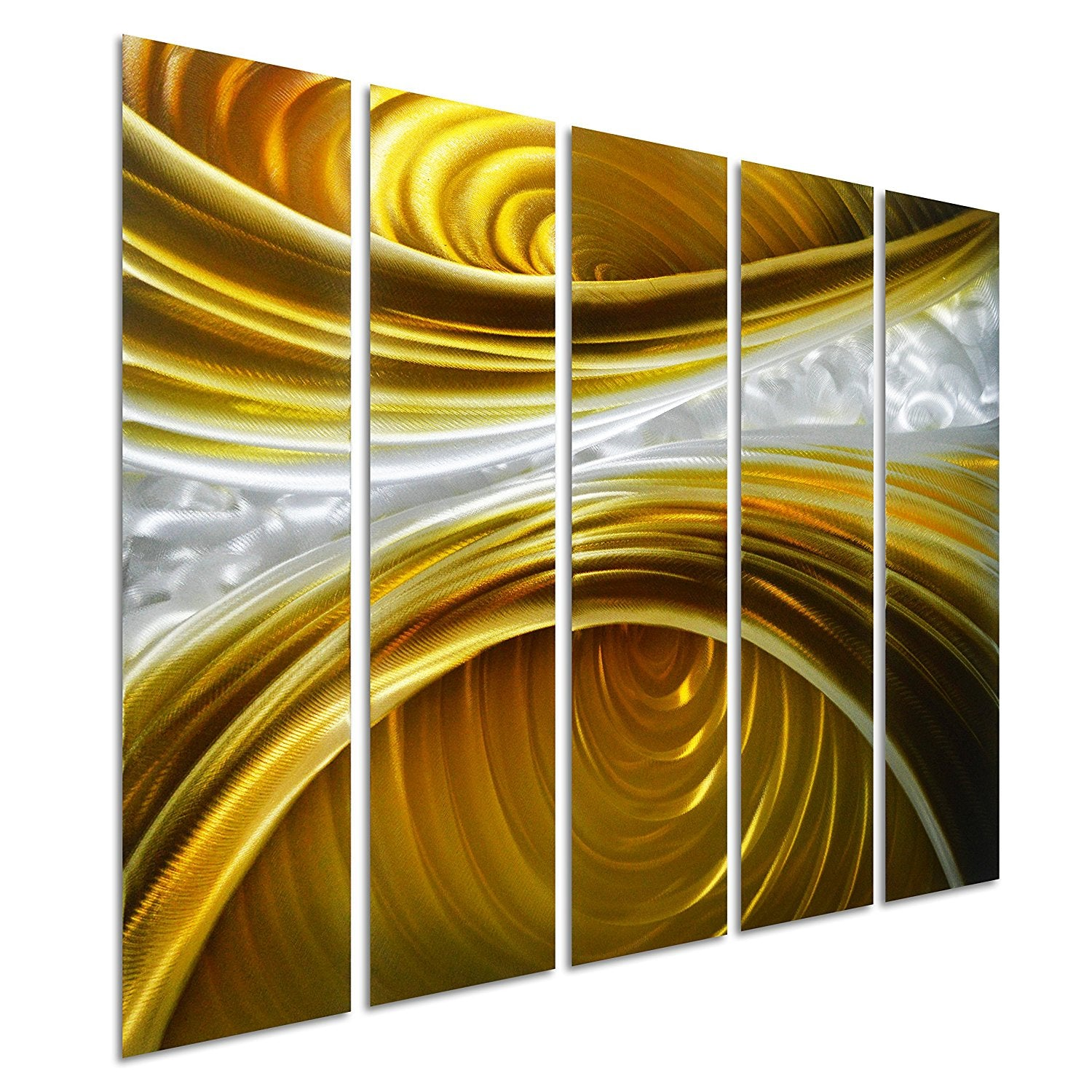 Infinite Brown - Brown Silver Gold Wall Art - Set of 5 Small Panels ...