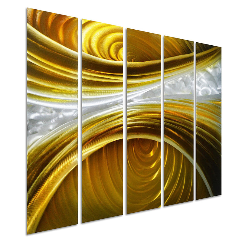 "Infinite Brown - Brown Silver Gold Wall Art - Set of 5 Small Panels Decoration of 34"" x 24"""