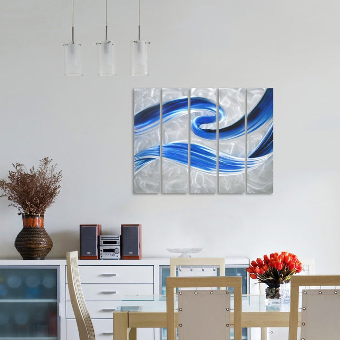 "Swirls of Color Metal Wall Art - Abstract Blue Silver Hanging Sculpture of 5 Panels of 34"" x 24"""