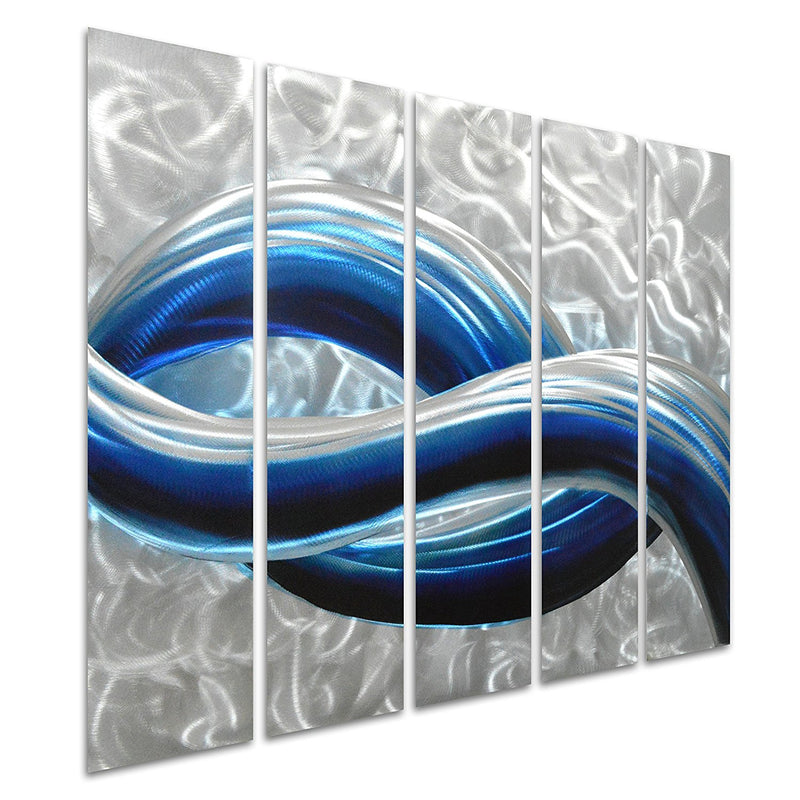 "Blue Skyline in Silver - Modern Hanging Sculpture Set of 5 Small Panels - Decoration of 34"" x 24"""
