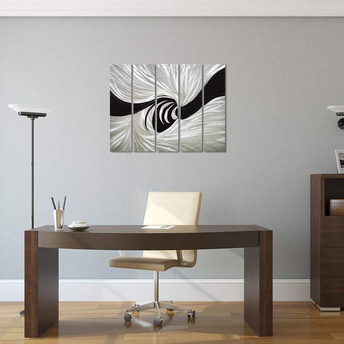 "Silver Worm Hole Abstract Metal Wall Art Decor - Black and Silver Hanging Sculpture of 5 Panels of 34"" x 24"""