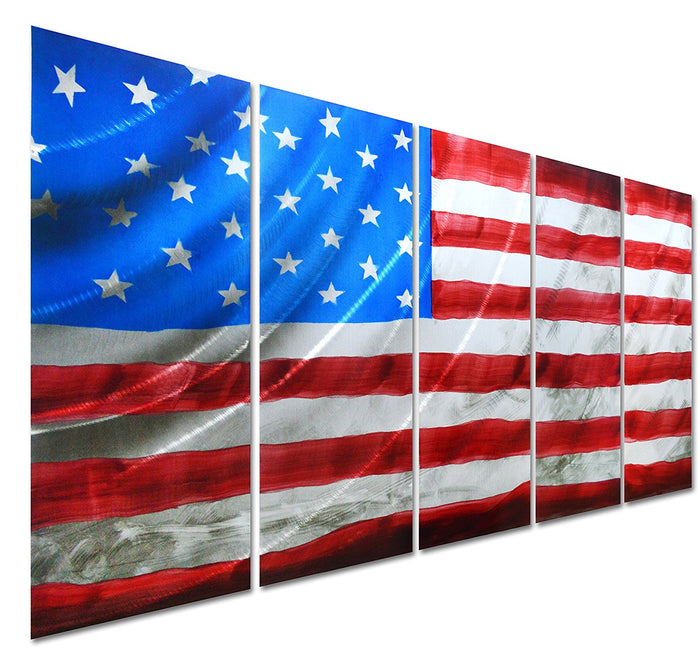"Pure Art American Flag - USA Country Themed Metal Wall Art Decor - Contemporary Set of 5 Panels of 24"" x 64"" - Colourful Abstract Artwork"