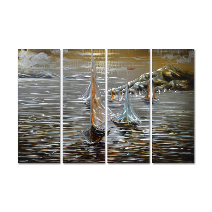 "Paper Boats in the Ocean - Beach Themed Hanging Sculpture - Set of 4 Panels of 47"" x 24"""