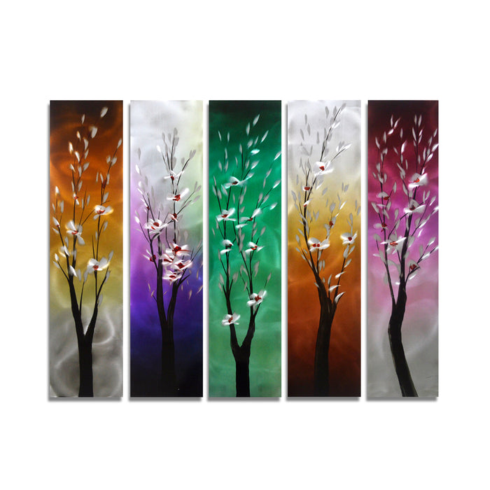 "Trees Through the Seasons - Tree Decoration Set of 5 Square Panels - 34"" x 24"""