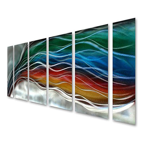"Colorful Rainbow Wave - Large Handcrafted Silver Abstract Metal Wall Art Decor - Set of 6 Panels - 65"" x 24"""