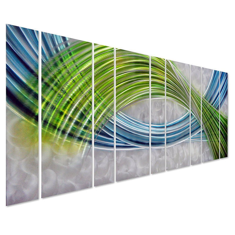 "Abstract Color Warp, Oversized Scale Metal Wall Decor in Abstract Blue-Green Swirls, 9-Panels Measure 86"" x 32"""