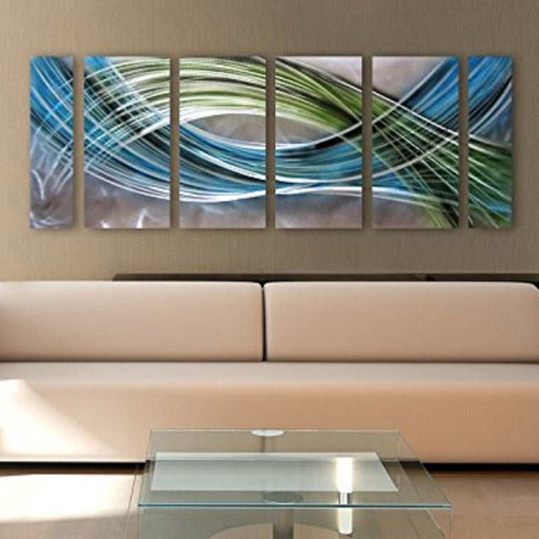 Abstract Color Warp Metal Wall Art, Large Scale Decor Abstract Blue-Green Swirls, 6-Panels Measure 24