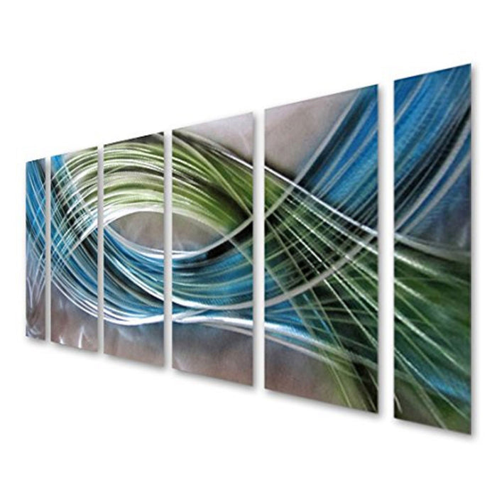 "Abstract Color Warp Metal Wall Art, Large Scale Decor Abstract Blue-Green Swirls, 6-Panels Measure 24""x 65"""