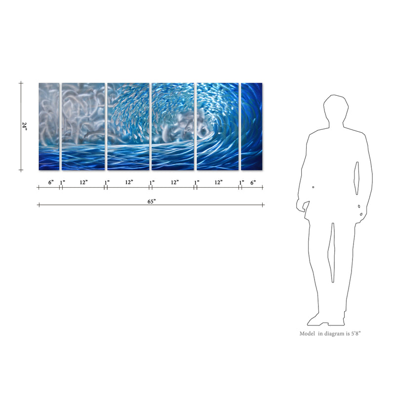 "Blue Ocean Waves Metal Wall Art, 6-Panels Measures 24""x 65"", Great for Indoor and Outdoor Settings"