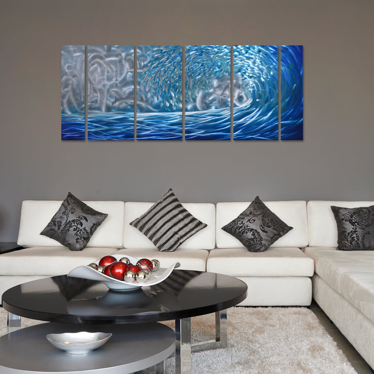 Blue Ocean Waves Metal Wall Art, 6-Panels Measures 24