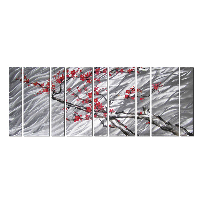 "Cherry Blossom Flower Tree – Browns Silvers and Reds/Pinks, Metal Wall Art Decor Set of 9 Panels 86"" x 32"""