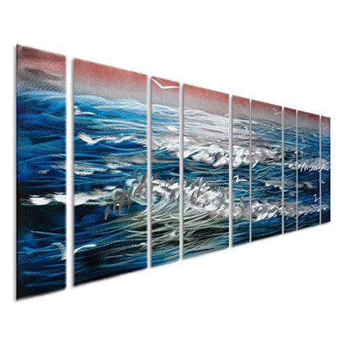 "Blue Sapphire Sea Ocean Waves - Nautical Metal Wall Art - Set of 9 Tropical Panels in Silver and White - 86"" x 32"""