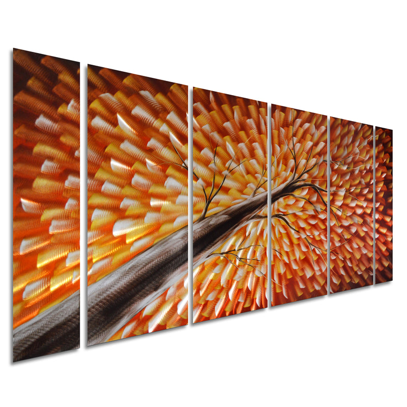 "Gazing Skyward at Sunset Metal Wall Art, Large Colorful Decor in Abstract Botanical Design, 6-Panels 24""x 65"""