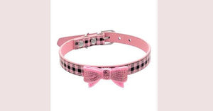 PU Leather Cat Plaid Collar