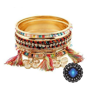 18K Gold Plated Boho Multicolor Beads Bangles
