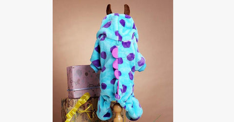 Fuzzy Sulley Monster Fleece Cat Costume