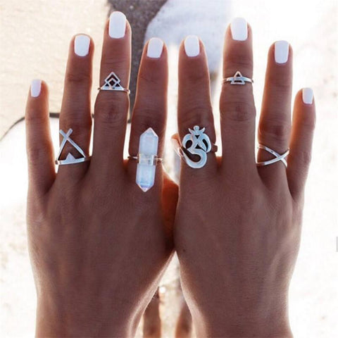 6pcs/Set Vintage Boho Ohm Ring
