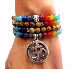7 Chakra Ohm Mala (108 Beads) Bracelet/Necklace