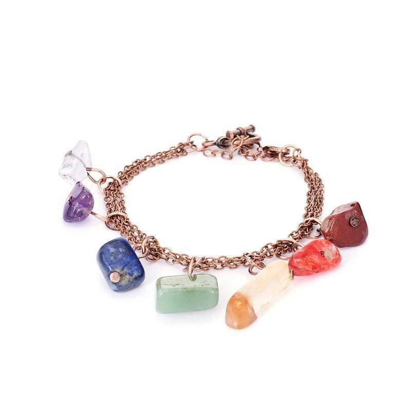 Antique Copper 7 Chakra Natural Stone Charms Link Bracelet