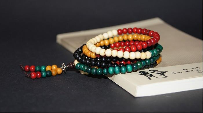 Multi-colored Sandalwood Mala Bead Bracelet