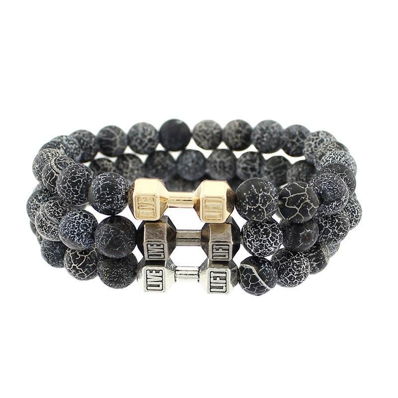 Natural Snowflake Dumbbell Beaded Bracelet