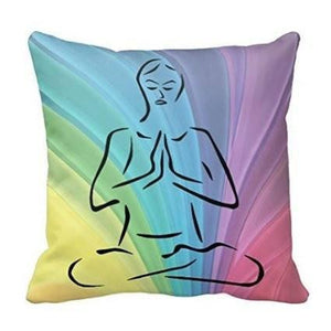 Pastel Yoga Pose Rainbow Pillowcase