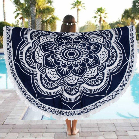 Navy Lotus with Tassels Mandala Tapestry