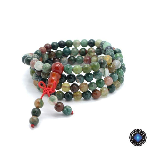 Natural Agate Stone Buddhist India 108 Prayer Beads Mala Bracelet/Necklace (6mm)