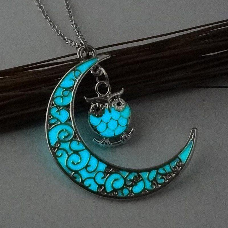 Glowing Stone Half Moon-Owl necklace