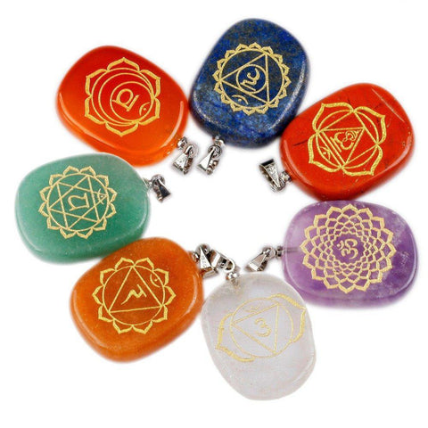 Healing Crystal 7 Chakra Palm Stones Pendant ,Set of 7