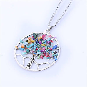 New Natural Rainbow Stone Tree Of Life Pendant Necklace