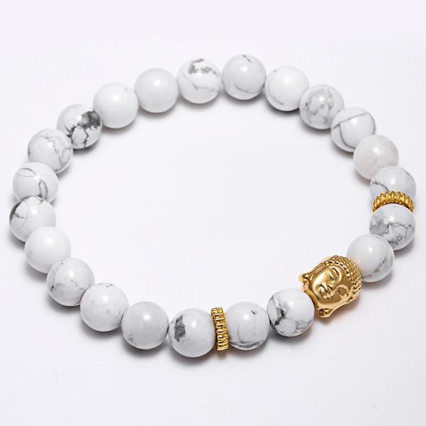 Natural Semi-Precious Stone & Gold Plated Buddha Charm Mala Bracelet - 10 colours