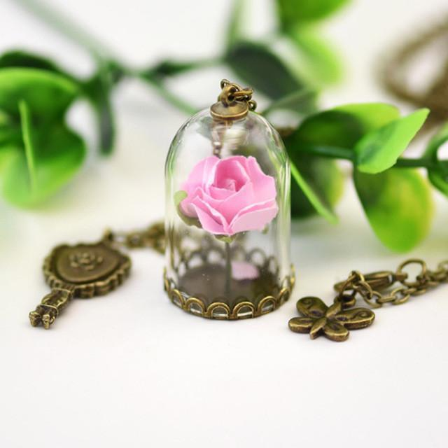 The Enchanted Rose in the glass