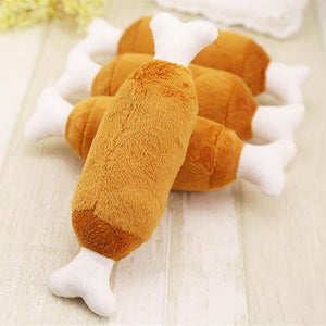 Squeaky Plush Chicken Drumstick