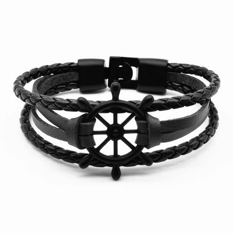 Nautical Charm Leather Wrap Bracelet